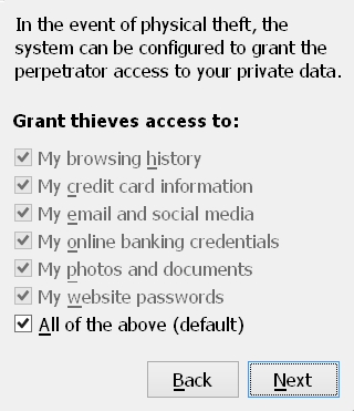 "Fake dialog saying ""In the event of physical theft, grant perpetrators access to"" with options for ""My browsing history, My email and social media, My photos and documents, and similar"". All boxes are checked by default."